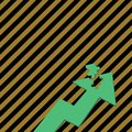 Color Arrow Illustration Pointing Upward with Detached Part like Jigsaw Puzzle Tile Piece. Creative Background Concept