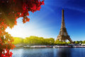Color of autumn in paris seine with eiffel tower time Stock Photo