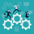 Color background business growth with business people running in mechanism gears Royalty Free Stock Photo