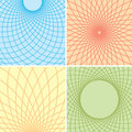 Color backgrounds with curved grids set vector Stock Photos