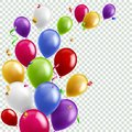 Color balloon background. Flying colorful balloons birthday party decoration. Anniversary celebration card, banner