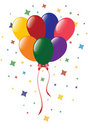 Color balloons with confetti Royalty Free Stock Photo