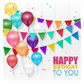 Color balloons Happy Birthday on white background Royalty Free Stock Photo