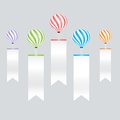 Color balloons and infographic on white labels background