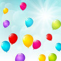 Color balloons on sunny sky background Royalty Free Stock Photo