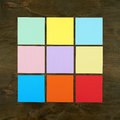 Color bar from paper sticker on wood background in square frame form . Flat design and top view of interface menu concept on desk. Royalty Free Stock Photo