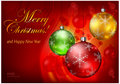 Color baubles on red background & text Stock Photo