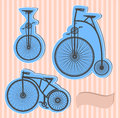 Color bikes vector set of old on a background Royalty Free Stock Photos