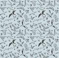 Color birds set seamless pattern the with big of different wild on gray background vector illustration Stock Image