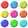 Color blank round glossy buttons. Royalty Free Stock Photo