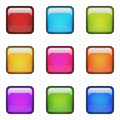 Color blank square glossy buttons. Royalty Free Stock Photo