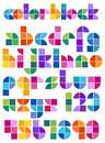 Color block abstract alphabet an original font made of colorful tiles in rainbow colors Royalty Free Stock Image