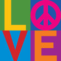 Color block love peace type design of with symbol in a stacked design Stock Photography