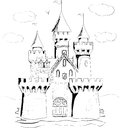 Color book palace fairy tale castle Stock Photo