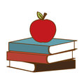 Color books with red apple on top Royalty Free Stock Photo