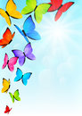 Color butterflies on sunny sky background Royalty Free Stock Images