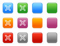 Color buttons with close icon Royalty Free Stock Images