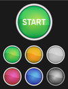 Color buttons with white border and d look colors are red orange yellow green blue gray violet or purple metal ring Royalty Free Stock Photo