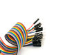 Color cable spiral on white background
