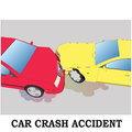 Color car crash. Two cars hit Royalty Free Stock Photo