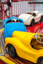 Color car ride chidrens cars on a fair ground Royalty Free Stock Images