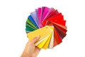 Color cart in hand man holding a set of paint swatches all the colors of the spectrum splayed out his isolated on white background Stock Images