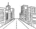 Color cartoon line city perspective buildings in Royalty Free Stock Photo