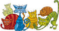 Color cats group Royalty Free Stock Photo
