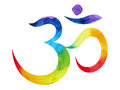 7 color of chakra om, aum symbol concept, watercolor painting