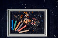 Color chalk pencils art and food.