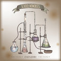 Color chemistry lab equipment sketch placed on old paper background. Royalty Free Stock Photo