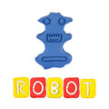 Color children s robot plasticine on a white background Royalty Free Stock Photos