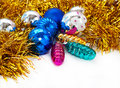 Color Christmas balls and toys background Royalty Free Stock Photos