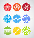 Color Christmas baubles collection Stock Images