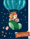 Color christmas hot air balloon with santa funny background claus and deer retro cartoon illustration Stock Photo