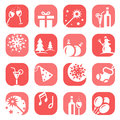 Color christmas icon set Stock Photography