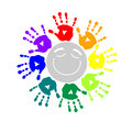 Color circle of hand prints a Stock Photo