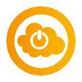 Color circular emblem with cloud service power button