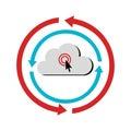 Color circular emblem with cloud service storage