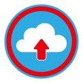 Color circular emblem with cloud upload service