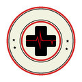 Color circular emblem with cross with line vital sign
