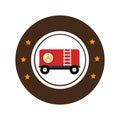 Color circular emblem with fuel trailer