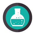 Color circular emblem with glass circular beaker for laboratory