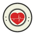 Color circular emblem with heart with line vital sign