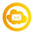 Color circular emblem with mail cloud service