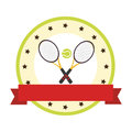 Color circular emblem with ribbon and ball and tennis rackets