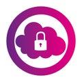 Color circular emblem with secure padlock cloud service