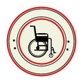 Color circular emblem with wheelchair