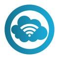 Color circular emblem with wifi cloud service
