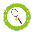 Color circular frame with ball and tennis racket